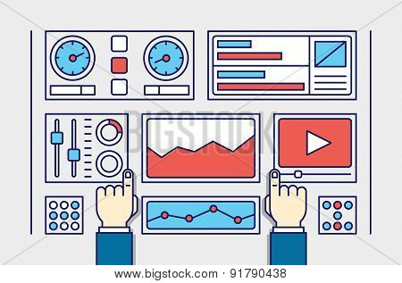 Vector Illustration Of Web Analytics Information And Development Website Statistic. Process Of Creat