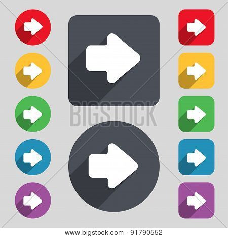 Arrow Right, Next Icon Sign. A Set Of 12 Colored Buttons And A Long Shadow. Flat Design. Vector