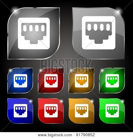 Cable Rj45, Patch Cord Icon Sign. Set Of Ten Colorful Buttons With Glare. Vector