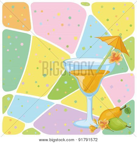 Juice, Pears, Flowers and Abstract Pattern