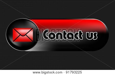 contact us, web button in the banner shape on the gray background