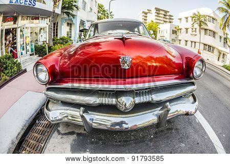 Ford Vintage Car Parked At Ocean Drive In Miami Beach
