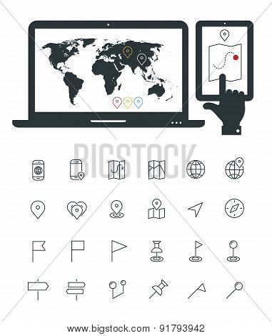 Map line thin icons with laptop and smartphone mock ups