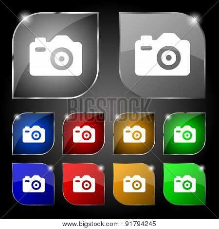 Photo Camera Icon Sign. Set Of Ten Colorful Buttons With Glare. Vector