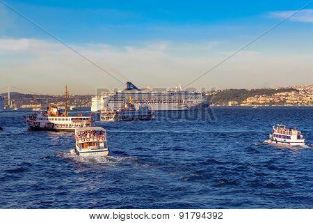Sea traffic.