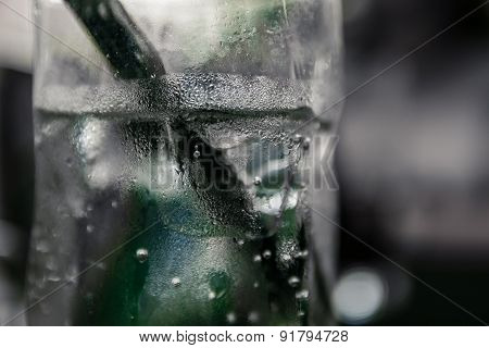 Close up of glass with sparkling water in it