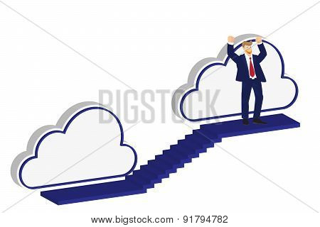 Man Climbs The Ladder Stairs Of Success And A Virtual Career, Illustration, Vector