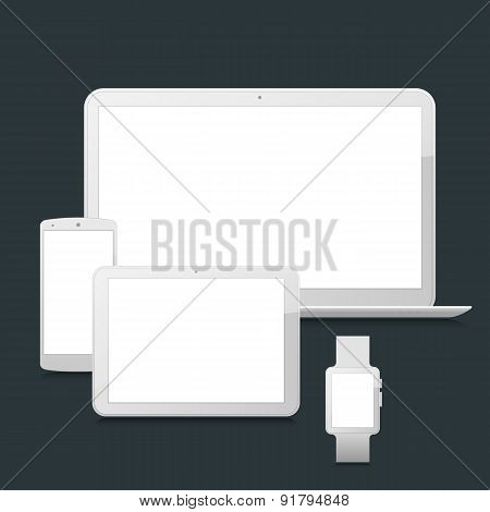 Blank laptop, smartphone, tablet and smartwatch mock-up