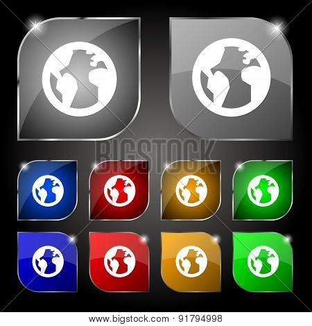 Globe, World Map Geography Icon Sign. Set Of Ten Colorful Buttons With Glare. Vector