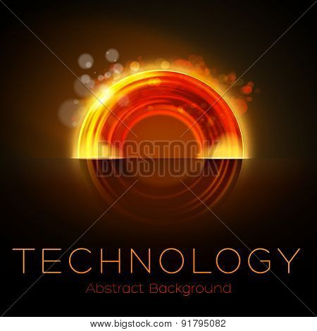 Hot Colors Abstract Orange Glowing Torus Background
