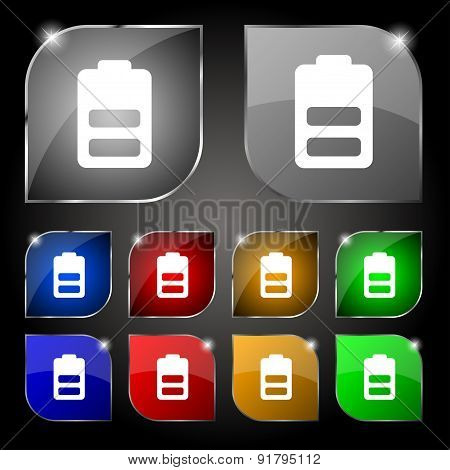 Battery Half Level, Low Electricity Icon Sign. Set Of Ten Colorful Buttons With Glare. Vector