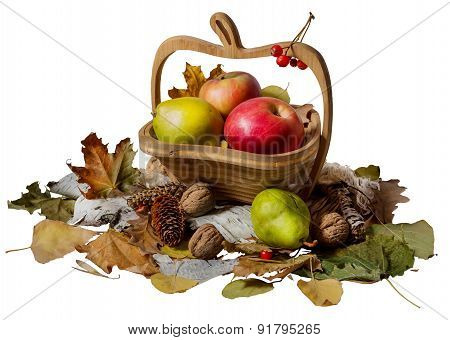 Autumn Theme. Basket With Apples And Pear On White Background