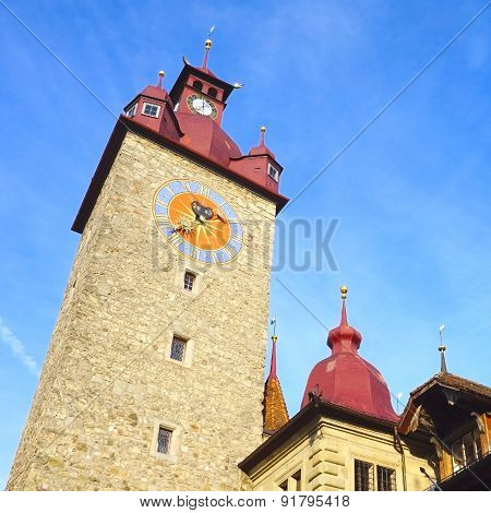 Clock Tower In Old Town City Lucerne