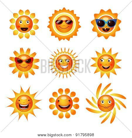 Sun smile smiley icons collection
