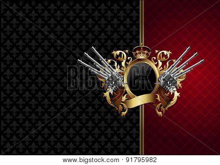 ornate frame with guns