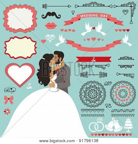 Wedding invitation decor set with Kissing  couple.eps