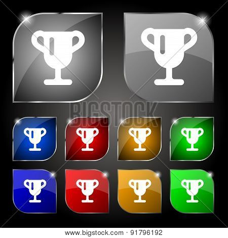 Winner Cup, Awarding Of Winners, Trophy Icon Sign. Set Of Ten Colorful Buttons With Glare. Vector