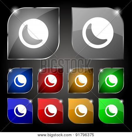 Moon Icon Sign. Set Of Ten Colorful Buttons With Glare. Vector