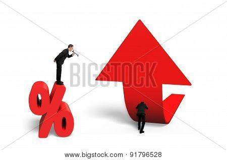 Boss Speaker Yelling Employee Pushing Trend Arrow Upward Percentage Sign