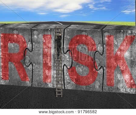 Man Climbing Ladder Puzzles Concrete Wall Red Risk Word Sky