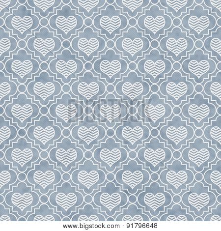 Blue And White Chevron Hearts Tile Pattern Repeat Background