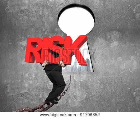Man Carrying Red Risk Word On Chain Toward Keyhole Cityscape