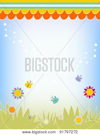 Colorful Vector Background With Flowers, Grass And Butterflies