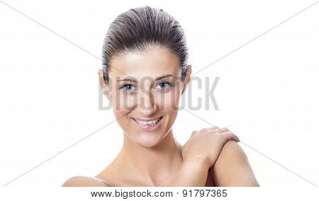 Spa Woman Bite Her Lips With Expressive Face, Isolated On White Background - Studio Shot. Female Or