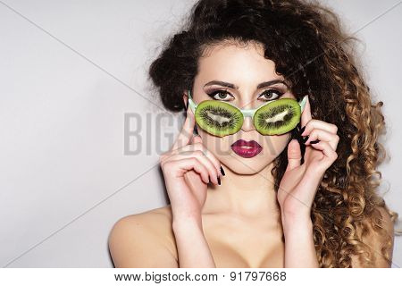 Naked Young Woman In Fruit Glasses