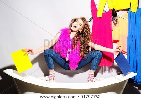 Fashionable Funny Young Woman On Bathtub
