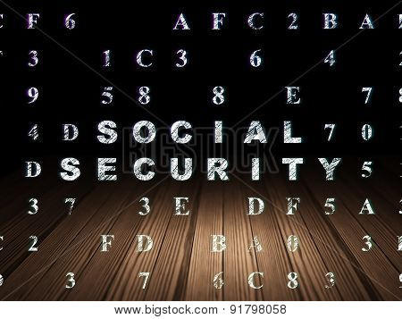 Protection concept: Social Security in grunge dark room