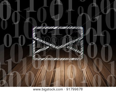 Business concept: Email in grunge dark room