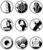 stock photo of boat  - Nautical elements I icons in knotted circle including  boat bell - JPG
