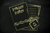 stock photo of policy  - folder with chain and lock privacy policy documentation - JPG