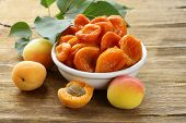 stock photo of apricot  - Natural organic dried apricots - JPG