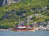 pic of vegetation  - Rocks with green vegetation at the waterfront of the Peljesac  canal on the Croatian  peninsula Peljesac with a passenger boat in front - JPG