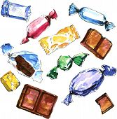 stock photo of toffee  - set of watercolor drawing candy - JPG