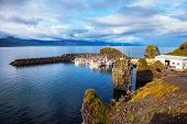 stock photo of fjord  - Sunset on the fjord in Iceland - JPG