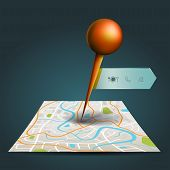 picture of gps  - A city map with digital satellite gps pin point with locations and wifi icon label tag with sample text in isolated background create by vector - JPG