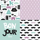 foto of poodle  - Seamless quirky Paris travel theme patterns and postcard collection hipster mustache poodle and French icons background in vector - JPG