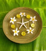 picture of gardenia  - Five gardenia flower with candle in wooden bowl  - JPG