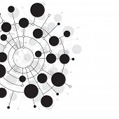 picture of human cell  - Abstract dots and circles connected by lines and curves - JPG