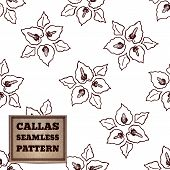 image of arum  - Seamless pattern with bouquet of callas and cardboard label - JPG