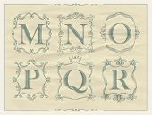 picture of letter n  - Calligraphic letters in monogram retro frames - JPG