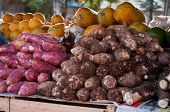 stock photo of root vegetables  - Taro Roots and Other Vegetables for Sale in Brazilian Street Market. ** Note: Shallow depth of field - JPG