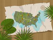 stock photo of treasure map  - jungle map america cartoon adventure treasure hunt - JPG