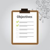 stock photo of objectives  - objective board goal check list icon goal - JPG
