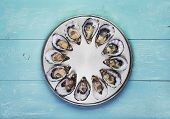 stock photo of serving tray  - dozen fresh oysters on special cooking and serving metal tray - JPG