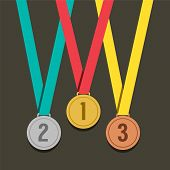 foto of bronze silver gold platinum  - Three Golden Medals With Number Vector Illustration - JPG