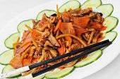foto of chinese parsley  - tasty steamed vegetables with meat - JPG